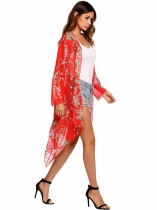 Red Long Sleeve Asymmetric Floral Chiffon Maxi Smock