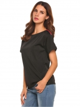 Black Round Neck Short Sleeve Patchwork Loose Fit T-Shirt