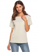 Gray Round Neck Short Sleeve Patchwork Loose Fit T-Shirt