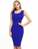 Royal Blue Retro Style Sleeveless Slim Pencil Work Dress