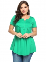 Green Plus Size Notched Collar Short Sleeve Pleated Tops