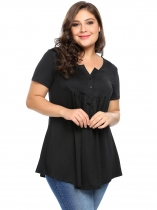 Black Plus Size Notched Collar Short Sleeve Pleated Tops