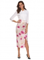 Beige Vintage Style High Waist Split Front Slim Fit Satin Floral Midi Skirt