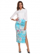 Lake blue Vintage Style High Waist Split Front Slim Fit Satin Floral Midi Skirt