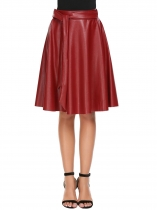 Red Faux Leather High Waist Solid Bow Tie Swing Skirt