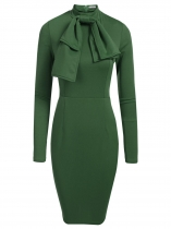 Verde del ejército Mujeres Moda Stand Cuello manga larga sólido Bowknot Bodycon Slim Pencil Dress