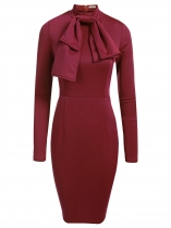 Rojo de vino Mujeres Moda Stand Cuello manga larga sólido Bowknot Bodycon Slim Pencil Dress