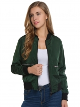 Army green Long Sleeve Outdoor Front Zipper Bomber Jacket