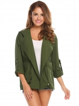 Army green Women Solid Hooded Lightweight Drawstring Military Anorak Jacket