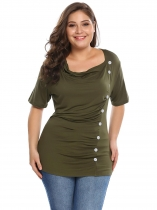 Army green Plus Sizes Cowl Neck Short Sleeve Front Button Ruched Tops