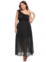 Black Plus Size One Shoulder Ruched Chiffon Dress