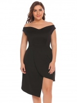 Black Women Plus Size Off Shoulder Asymmetrical Party Dress