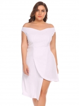 White Women Plus Size Off Shoulder Asymmetrical Party Dress
