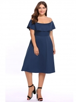 Navy blue Plus Size Off the Shoulder Ruffled Flared Swing Dress
