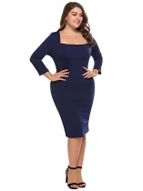 Navy blue Plus Size Square Neck Bodycon Dress