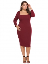 Wine red Plus Size Square Neck Bodycon Dress