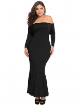 Black Plus Size Off Shoulder Maxi Mermaid Dress