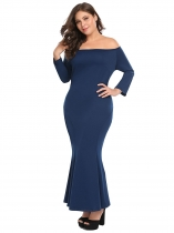 Navy blue Bleu marine Femmes Plus Size Off Shoulder 3/4 Sleeve Maxi Mermaid Fishtail Robe