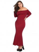 Wine red Plus Size Off Shoulder Maxi Mermaid Dress