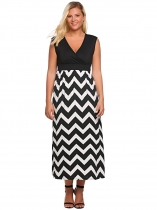 White Plus Size Surplice Neck Sleeveless Wave Stripe Maxi Dress