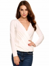 Beige Solid Wrap Long Sleeve Deep V-Neck Back Key Hole Cotton Tops
