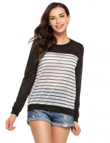 Black Long Sleeve O Neck Striped Contrast Color Pullover Sweatshirt