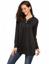 Black Lace up Long Sleeve Solid Loose Fit Tunics