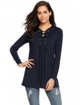 Navy blue Lace up Long Sleeve Solid Loose Fit Tunics