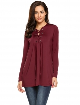 Wine red Lace up Long Sleeve Solid Loose Fit Tunics