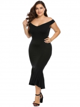 Black Plus Size Off the Shoulder Solid Flouncing Mermaid Dress