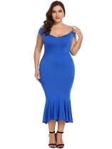 Blue Plus Size Off the Shoulder Solid Flouncing Mermaid Dress