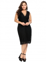 Black Plus Size Sleeveless Lace Bodycon Dress