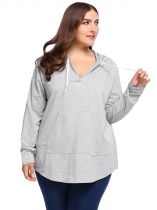 Light gray Plus Size Sexy V-Neck Long Sleeve Pullover Hoodie