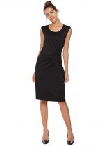 Black Solid O-Neck Sleeveless Knot Tie Sheath Dress
