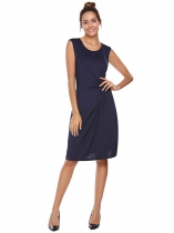 Dark blue Solid O-Neck Sleeveless Knot Tie Sheath Dress