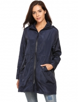 Navy blue Zip-Up Drawstring Hooded Raincoat Waterproof Windproof Coats