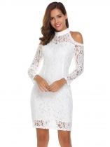 White Cold Shoulder Stand Neck Lace Pencil Dress