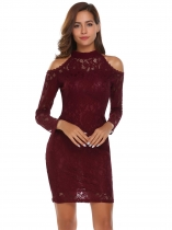 Wine red Cold Shoulder Stand Neck Lace Pencil Dress
