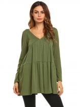 Army green V-Neck Long Sleeve Draped Solid Blouse