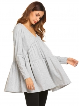 Gray V-Neck Long Sleeve Draped Solid Blouse