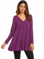 Purple V-Neck Long Sleeve Draped Solid Blouse