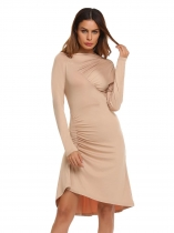 Khaki Long Sleeve Solid Pleated Bodycon Slim Pencil Dress