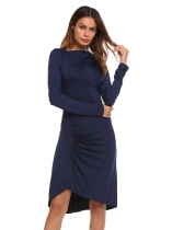 Navy blue Long Sleeve Solid Pleated Bodycon Slim Pencil Dress