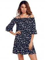 Blue Cold Shoulder Flare Sleeve Ruffles Floral Plaid Dress