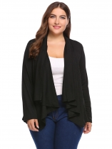 Black Plus Size Long Sleeve Solid Button Knit Cardigan