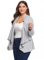 Gray Plus Size Long Sleeve Solid Button Knit Cardigan