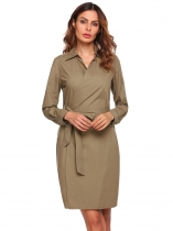 Brown Long Sleeve Wrap Tie Up Solid Shirt Dress