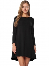 Black Back Button Asymmetrical Dress with Pocket