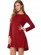 Wine red Back Button Asymmetrical Dress with Pocket