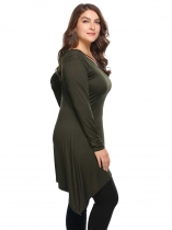 Army green Solid Plus Size V-Neck Long Sleeve Asymmetry Tops